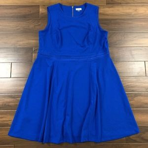 Calvin Klein Blue Sleeveless Fit Flare Knit Dress